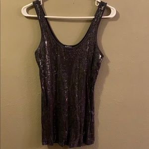 Express Sequined Grey Tank